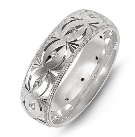 Item # M8277PP - Platinum, carved, comfort fit, 7.0mm wide, hand made diamond wedding band. The band has 12 diamonds with total weight of 0.18ct. The diamonds are graded as VS in Clarity, G-H in Color.