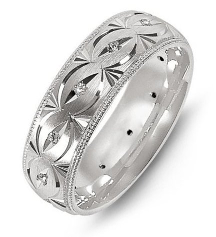 Item # M8277WE - 18K white gold, carved, comfort fit, 7.0mm wide, hand made diamond wedding band. The band has 12 diamonds with total weight of 0.18ct. The diamonds are graded as VS in Clarity, G-H in Color.