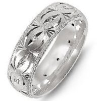 Item # M8277WE - 18K White Gold, Carved Diamond Wedding Band