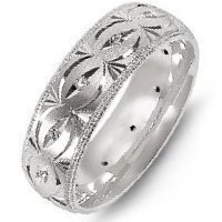 Item # M8277W - 14K White Gold Carved Diamond Wedding Band