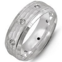Item # M8967W - 14K White Gold Hammered Diamond Wedding Band