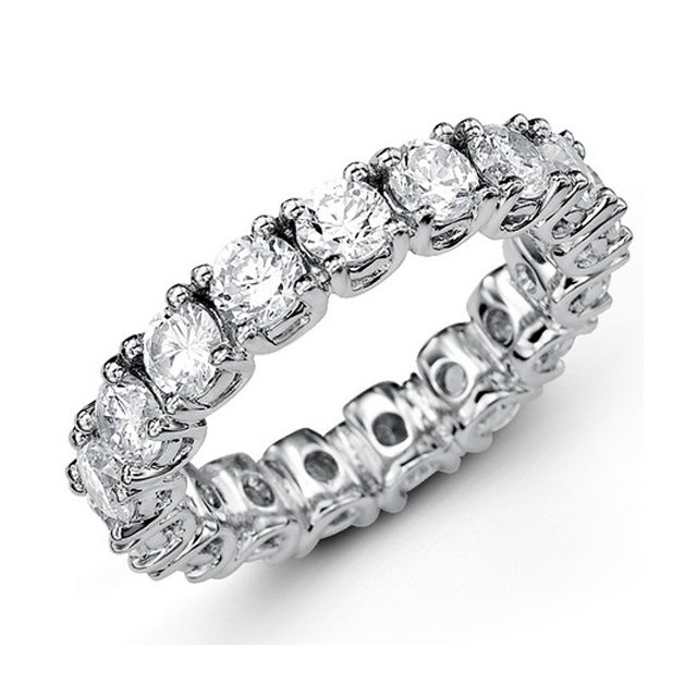 Item # MS20040W - 14K white gold diamond eternity bend. The band set in prongs  holds 21 round brilliant cut diamonds with total weigh of 2.0ct in size 6.0. The diamonds are graded as VS in Clarity G-H in Color.