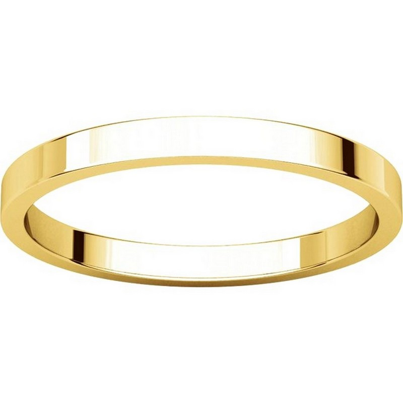 Item # N012502 View 3 - 14K Yellow Gold 2mm  Flat Wedding Ring