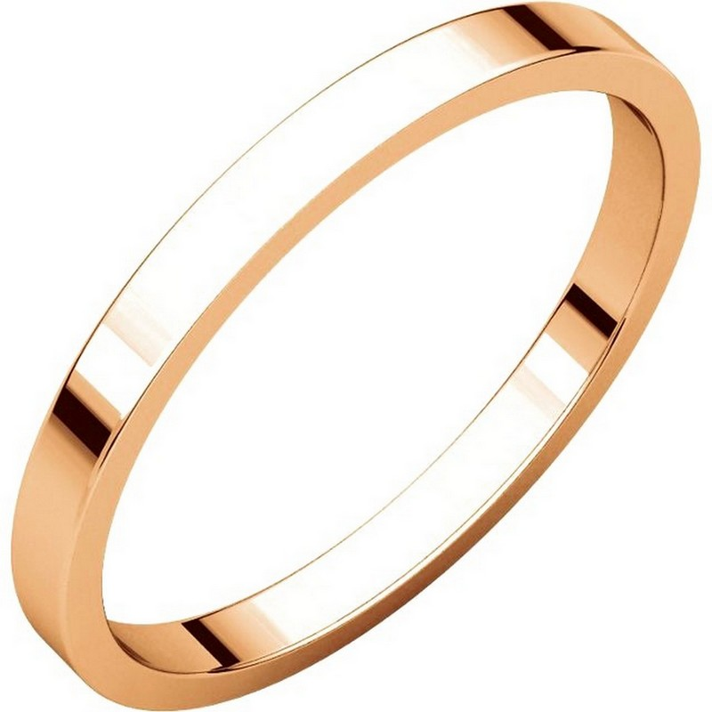 Item # N012502RE - 18 kt Rose gold plain 2.0 mm wide flat wedding band. The ring is a polished finish. Different finishes may be selected or specified.