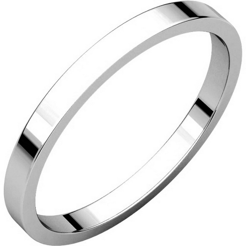 Item # N012502WE - 18kt white gold plain 2.0 mm wide flat wedding band. The ring is a polished finish. Different finishes may be selected or specified.