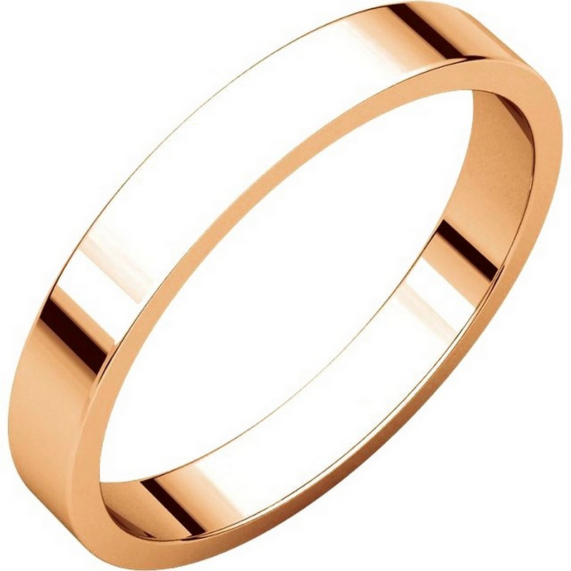 Item # N012503R - 14 kt Rose gold plain 3.0mm wide, flat wedding band. The wedding band is a polished finish. Different finishes may be selected or specified.
