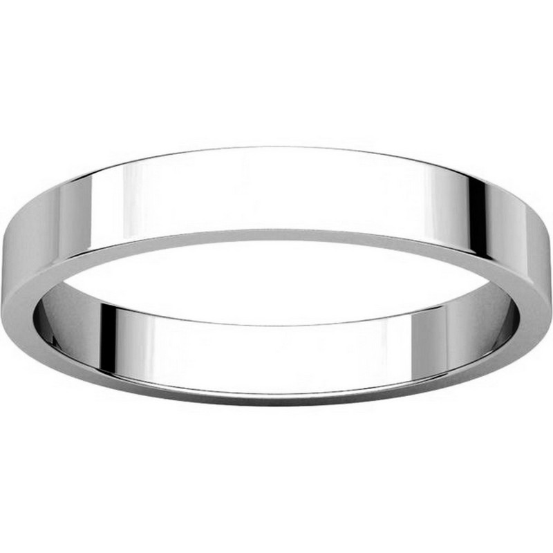 Item # N012503WE View 3 - 18K White Gold 3mm Wide Flat Wedding Band