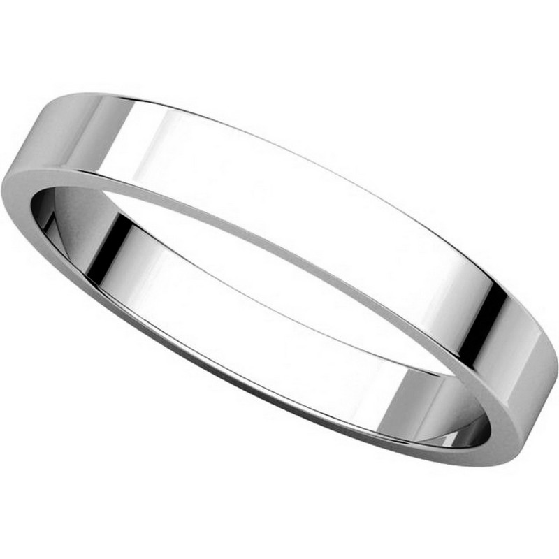 Item # N012503WE View 4 - 18K White Gold 3mm Wide Flat Wedding Band