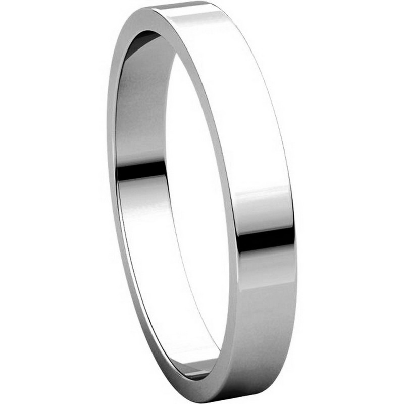 Item # N012503WE View 5 - 18K White Gold 3mm Wide Flat Wedding Band