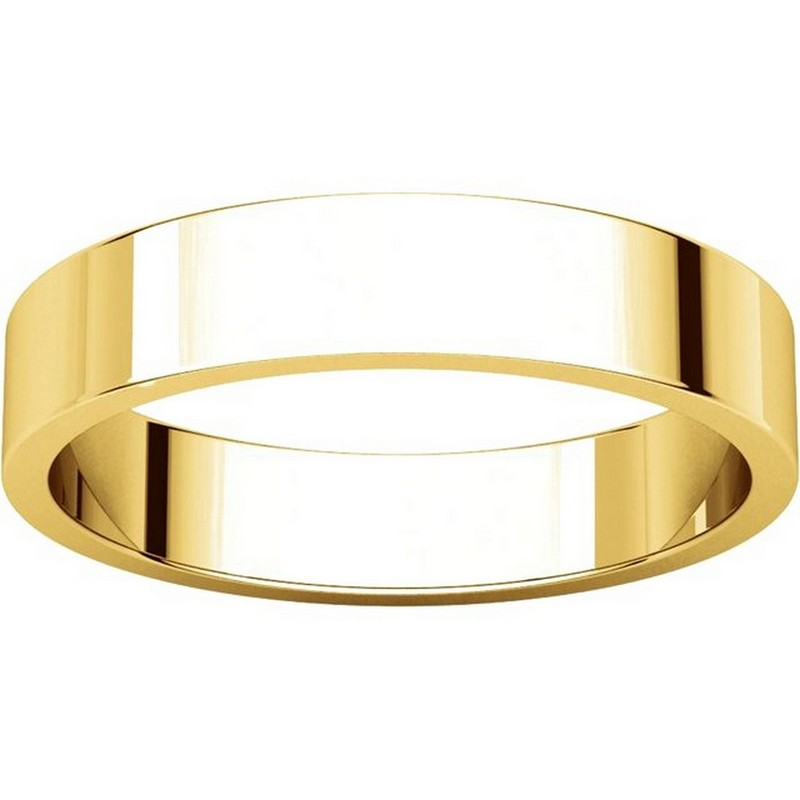 Item # N012504 View 3 - 14K Yellow Gold 4mm Flat Men's Plain Wedding Band