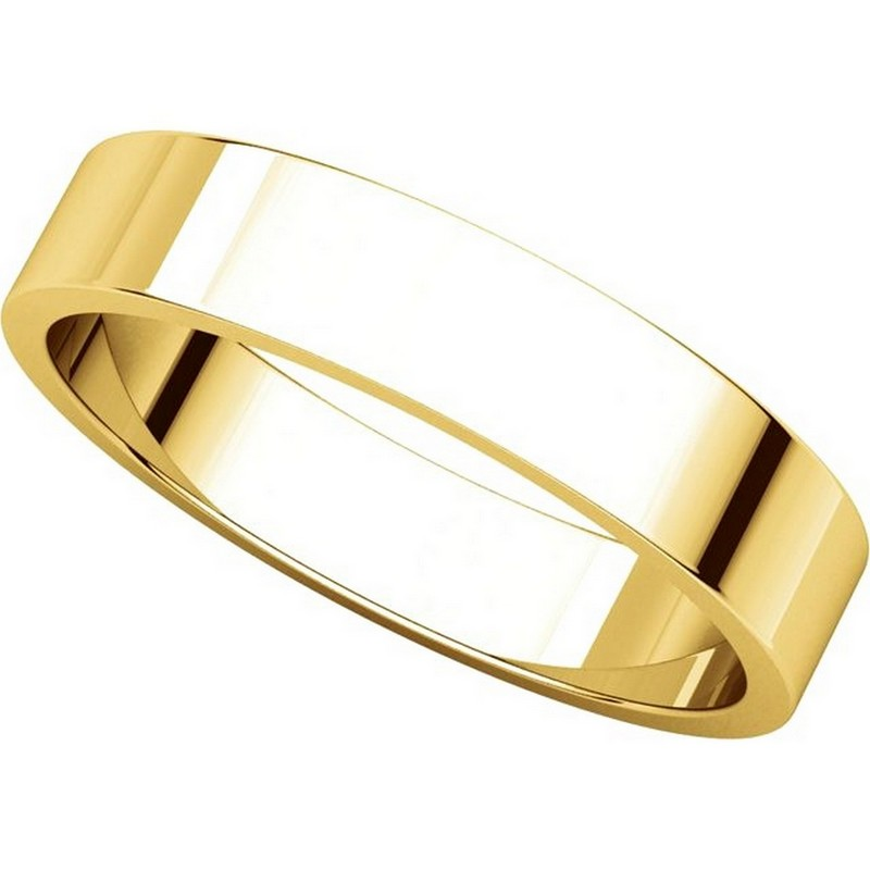 Item # N012504 View 4 - 14K Yellow Gold 4mm Flat Men's Plain Wedding Band