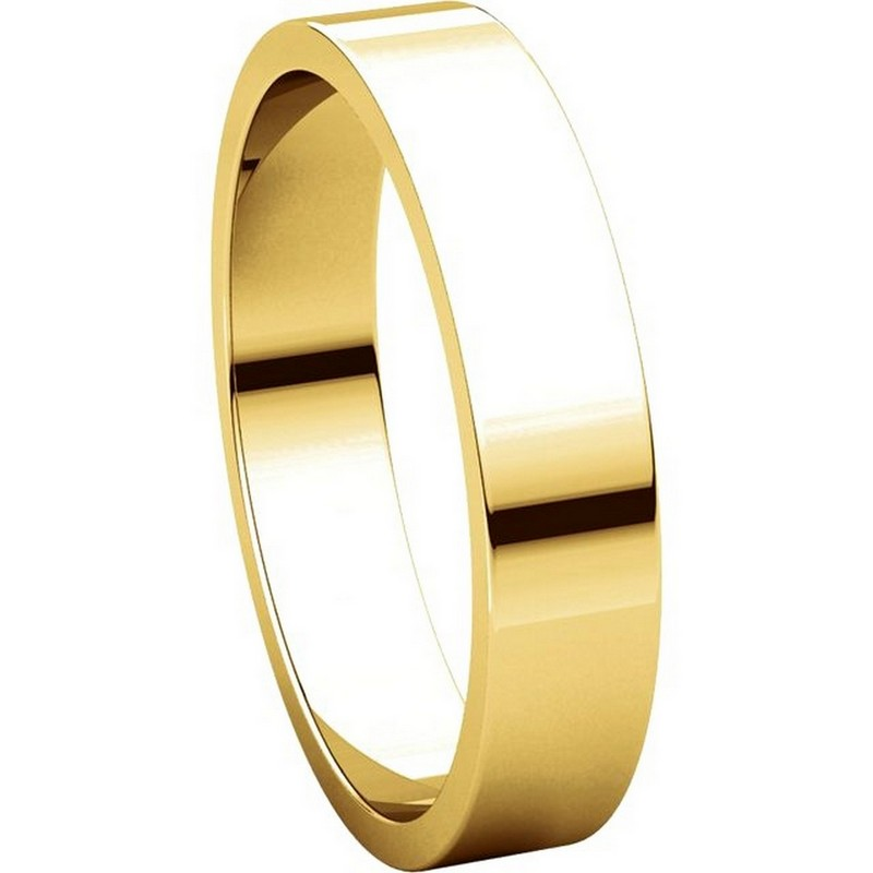 Item # N012504 View 5 - 14K Yellow Gold 4mm Flat Men's Plain Wedding Band