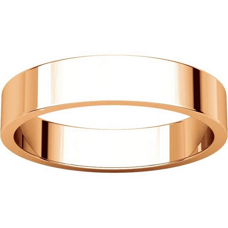 Item # N012504RE View 3 - 18K Rose Gold Plain 4mm Wide Flat Wedding Band