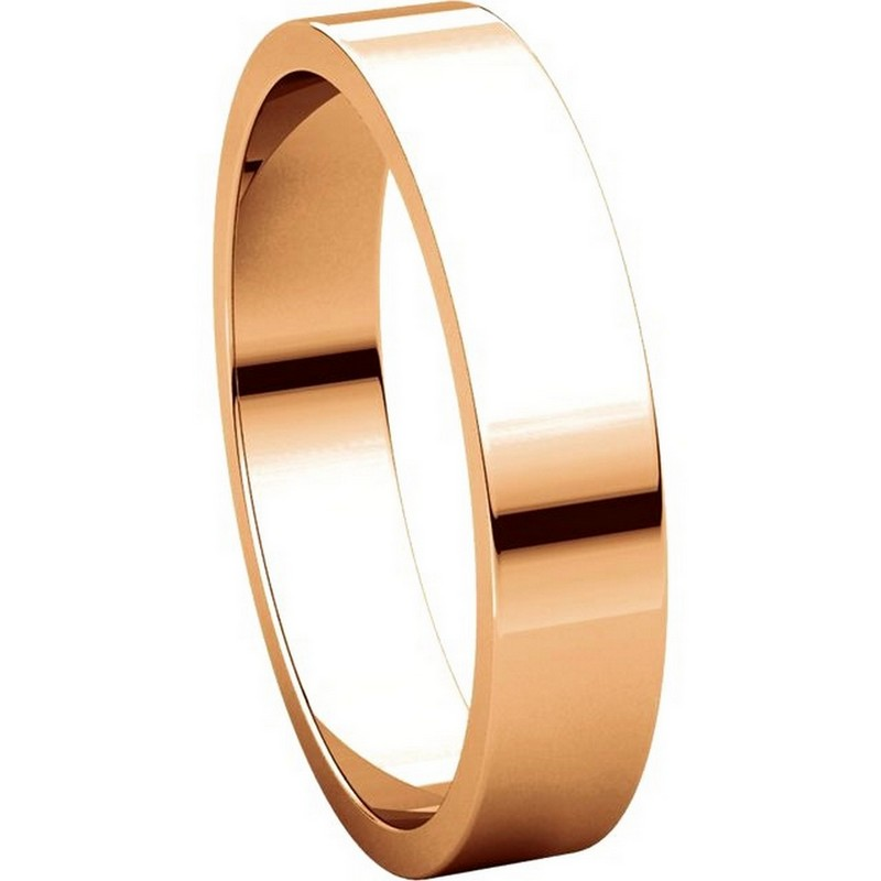 Item # N012504RE View 5 - 18K Rose Gold Plain 4mm Wide Flat Wedding Band