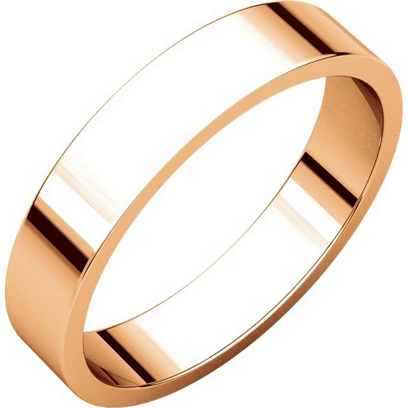 Item # N012504RE - 18 kt Rose gold, plain, 4.0mm wide, flat wedding band. The wedding band is a polished finish. Different finishes may be selected or specified.