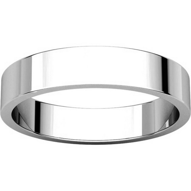 Item # N012504WE View 3 - 18K White Gold 4mm Wide Flat  Plain Wedding Band