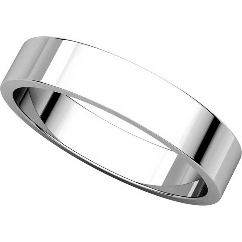 Item # N012504WE View 4 - 18K White Gold 4mm Wide Flat  Plain Wedding Band