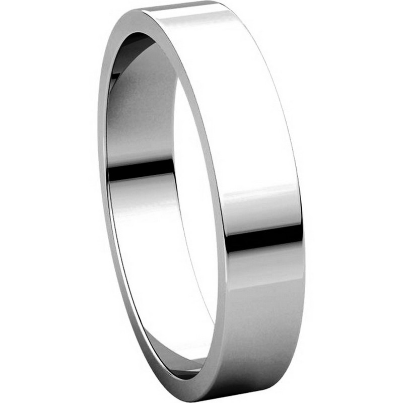 Item # N012504WE View 5 - 18K White Gold 4mm Wide Flat  Plain Wedding Band