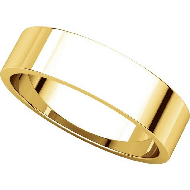 Item # N012505E View 4 - 18K Yellow Gold 5mm Wide Flat Plain Wedding Band