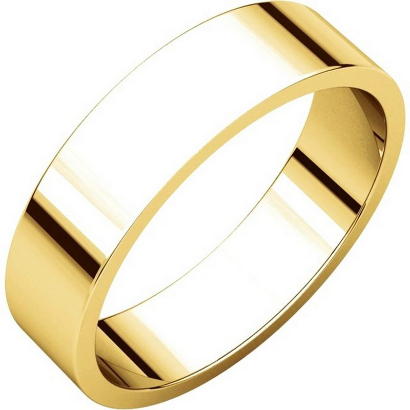 Item # N012505E - 18kt gold, plain, 5.0mm wide, flat wedding band. The wedding band is a polished finish. Different finishes may be selected or specified.