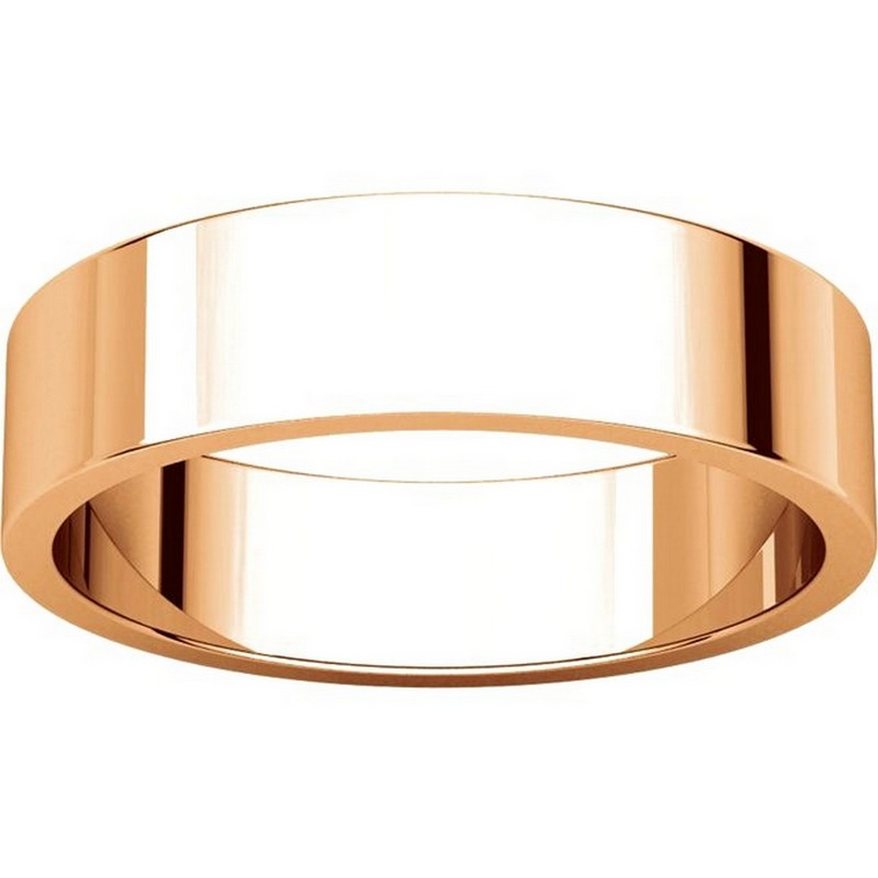 Item # N012505RE View 3 - 18K Rose Gold 5mm Wide Flat Plain Wedding Band