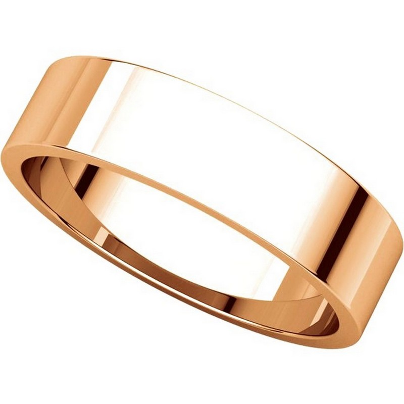 Item # N012505RE View 4 - 18K Rose Gold 5mm Wide Flat Plain Wedding Band