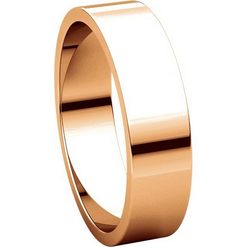 Item # N012505RE View 5 - 18K Rose Gold 5mm Wide Flat Plain Wedding Band
