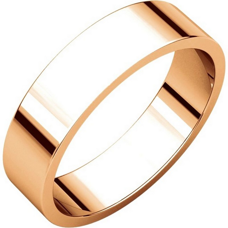 Item # N012505RE - 18 kt Rose gold, plain, 5.0mm wide, flat wedding band. The wedding band is a polished finish. Different finishes may be selected or specified.