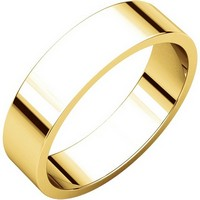 Item # N012505 - 14K Gold 5mm Wide Flat Plain Wedding Band