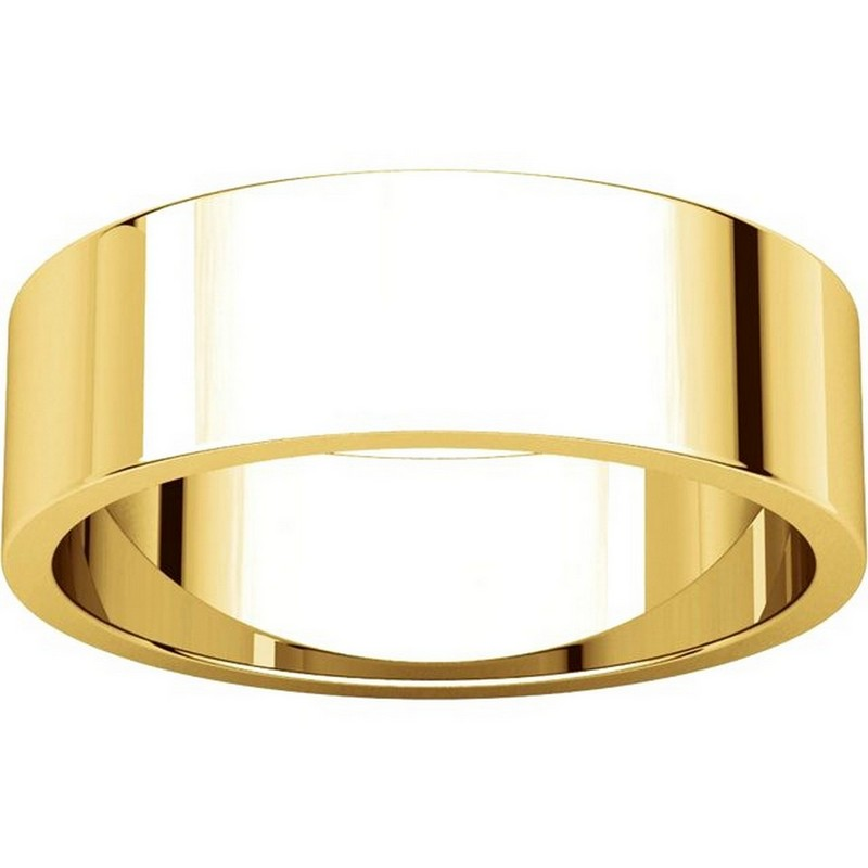 Item # N012506 View 3 - 14K Yellow Gold 6mm Wide Flat  Plain Wedding Band