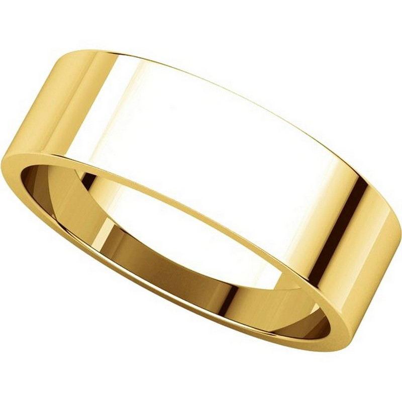 Item # N012506 View 4 - 14K Yellow Gold 6mm Wide Flat  Plain Wedding Band