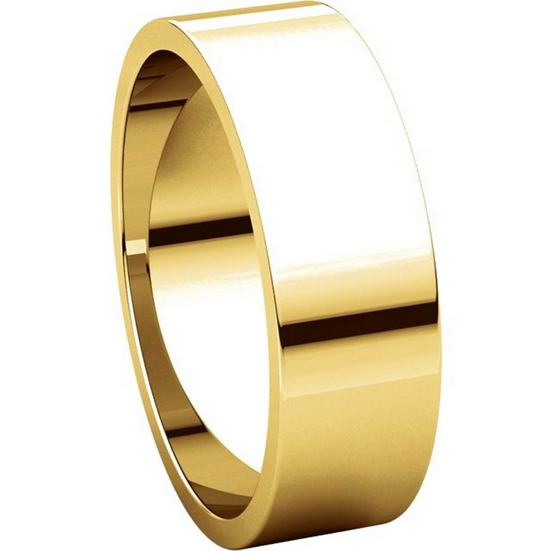Item # N012506 View 5 - 14K Yellow Gold 6mm Wide Flat  Plain Wedding Band