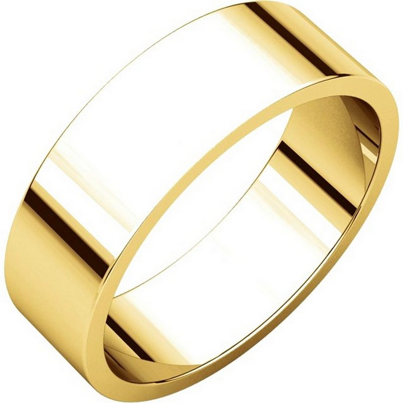 Item # N012506 - 14kt gold, plain, 6.0mm wide, flat wedding band. The wedding band is a polished finish. Different finishes may be selected or specified.