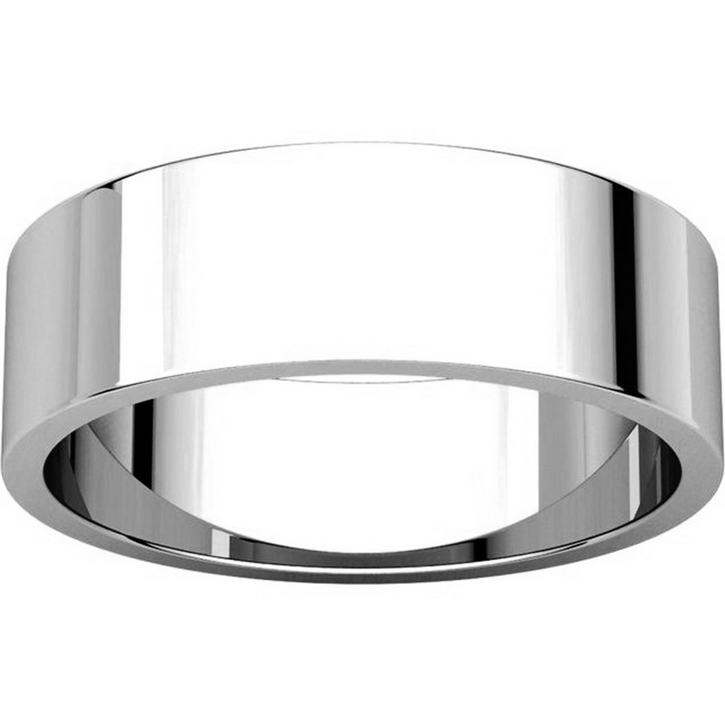 Item # N012506WE View 3 - 18K White Gold 6mm Wide Flat Plain Wedding Band