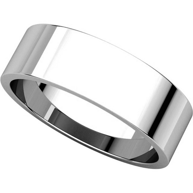 Item # N012506WE View 4 - 18K White Gold 6mm Wide Flat Plain Wedding Band