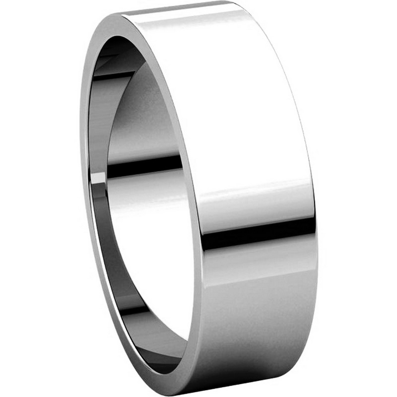 Item # N012506WE View 5 - 18K White Gold 6mm Wide Flat Plain Wedding Band