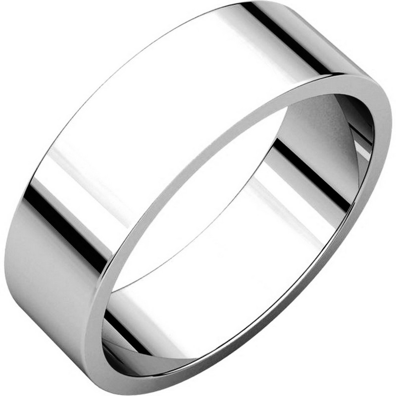 Item # N012506WE - 18kt white gold, plain, 6.0mm wide, flat wedding band. The wedding band is a polished finish. Different finishes may be selected or specified.