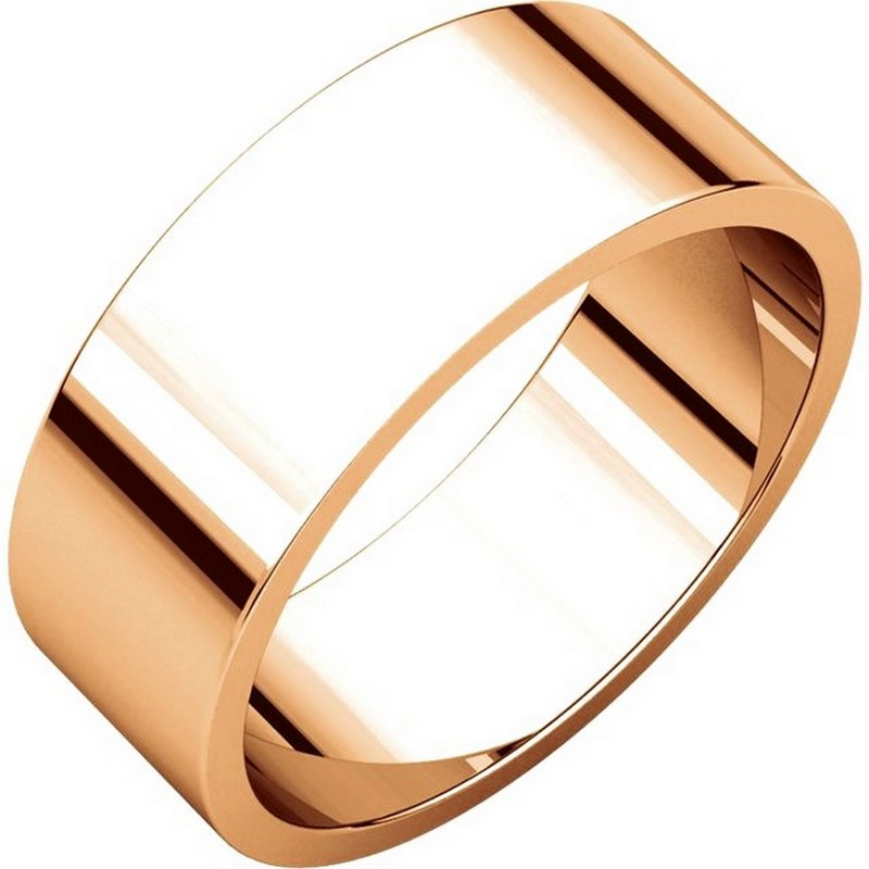 Item # N012507RE - 18K Roset gold plain 7.0mm wide, flat wedding band. The wedding band is a polished finish. Different finishes may be selected or specified.