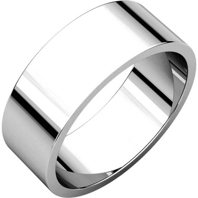Item # N012507W - 14kt white gold plain 7.0mm wide, flat wedding band. The wedding band is a polished finish. Different finishes may be selected or specified.