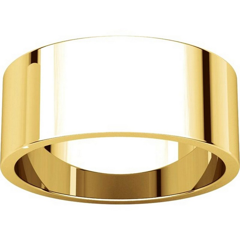 Item # N012508 View 3 - 14K Yellow Gold 8mm Wide Flat Plain Wedding Band