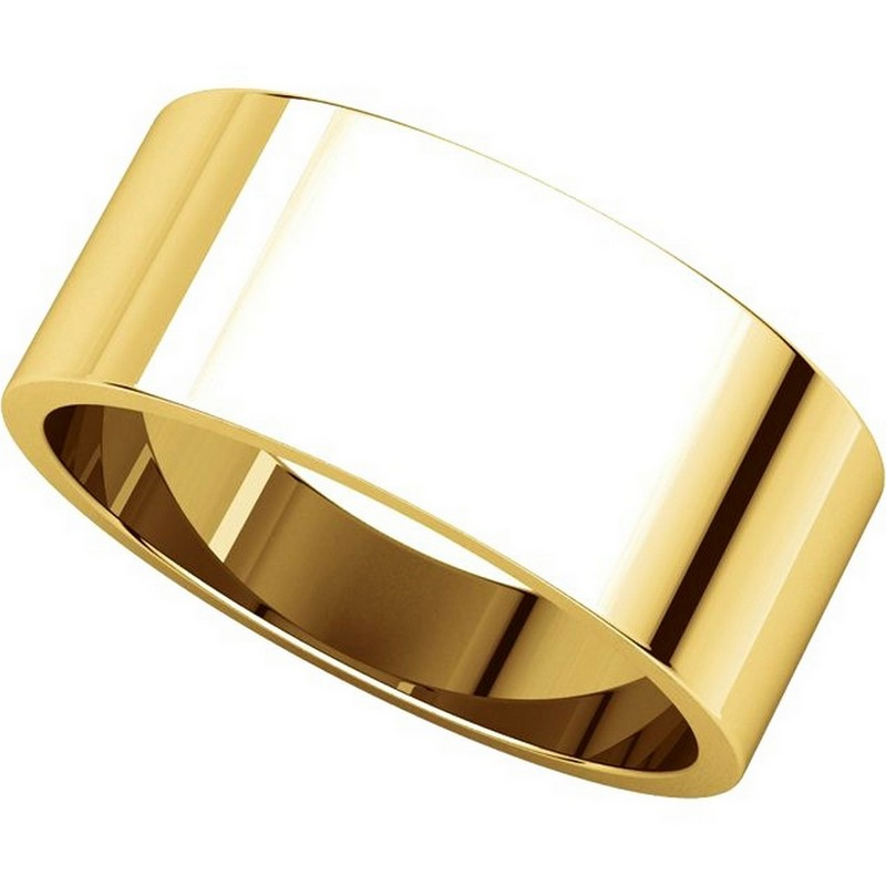 Item # N012508 View 4 - 14K Yellow Gold 8mm Wide Flat Plain Wedding Band
