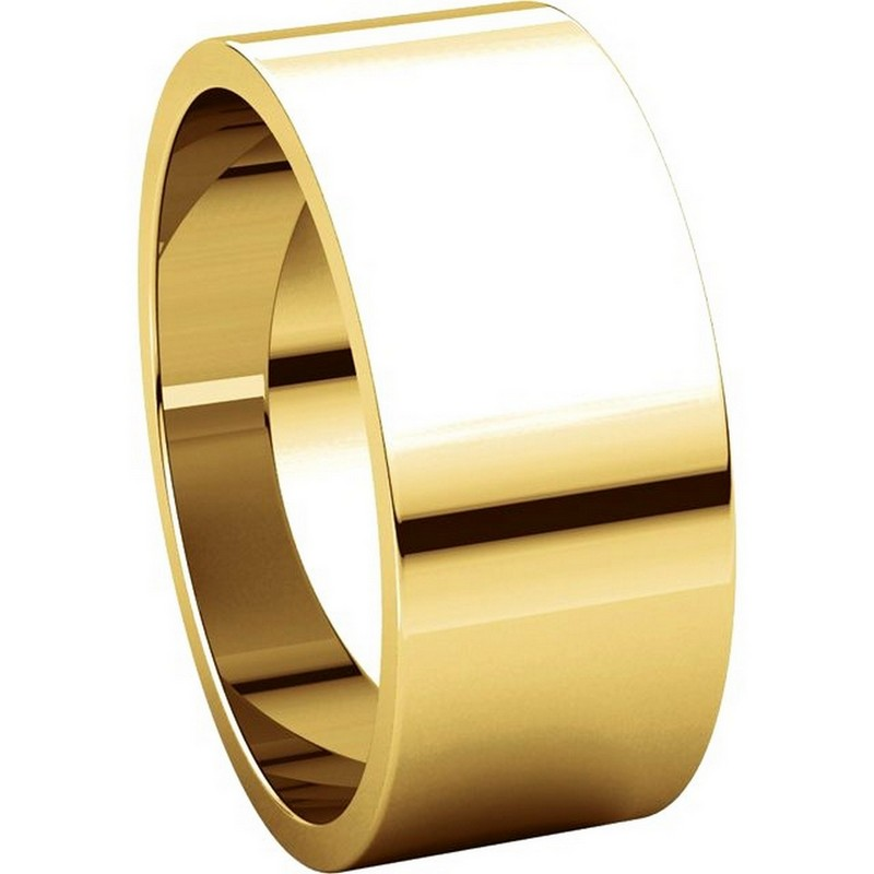 Item # N012508 View 5 - 14K Yellow Gold 8mm Wide Flat Plain Wedding Band