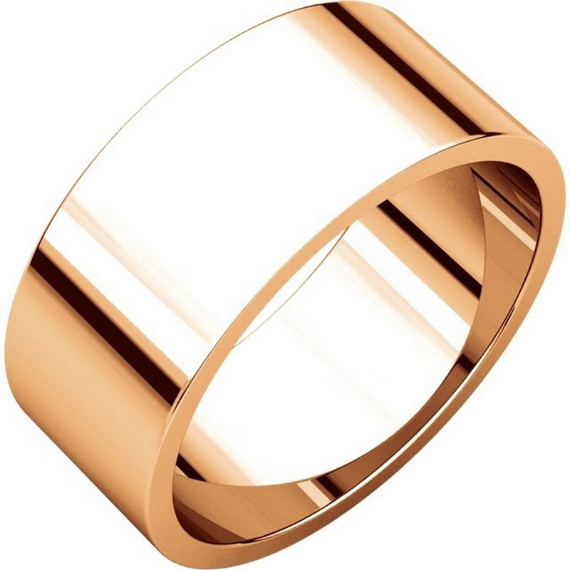 Item # N012508R - 14K Roset gold, plain, 8.0mm wide, flat wedding band. The wedding band is a polished finish. Different finishes may be selected or specified.