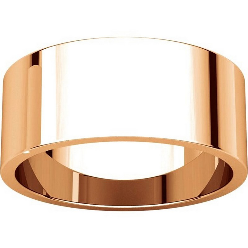 Item # N012508RE View 3 - 18K Rose Gold 8mm Wide Flat Plain Wedding Band