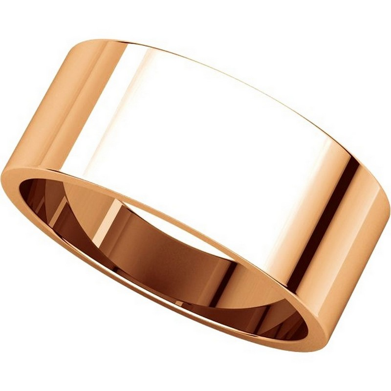 Item # N012508RE View 4 - 18K Rose Gold 8mm Wide Flat Plain Wedding Band