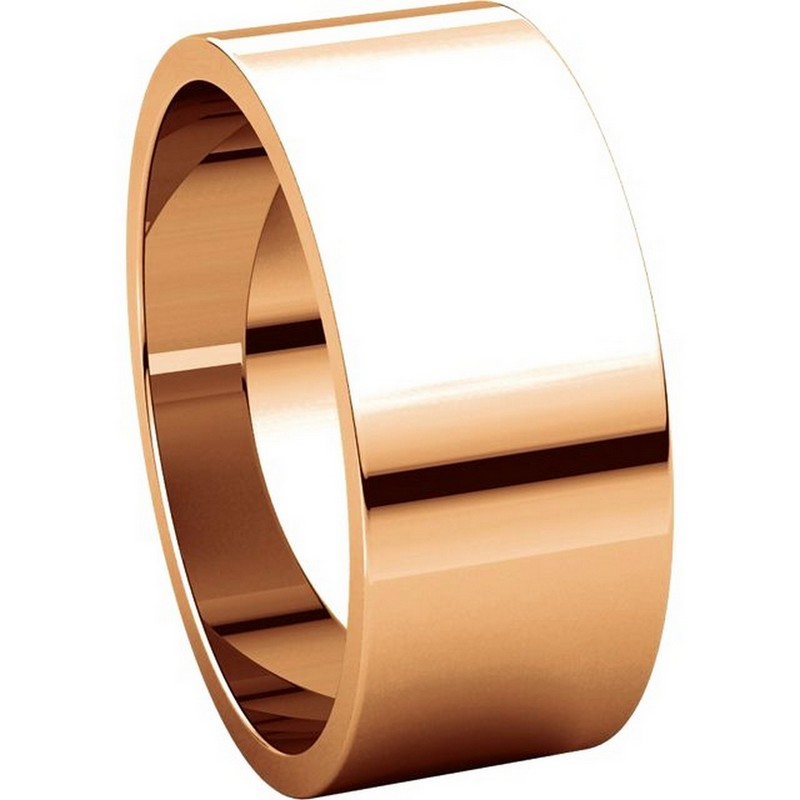 Item # N012508RE View 5 - 18K Rose Gold 8mm Wide Flat Plain Wedding Band