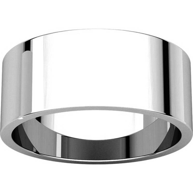Item # N012508W View 3 - 14K White Gold 8mm Wide Flat Plain Wedding Band