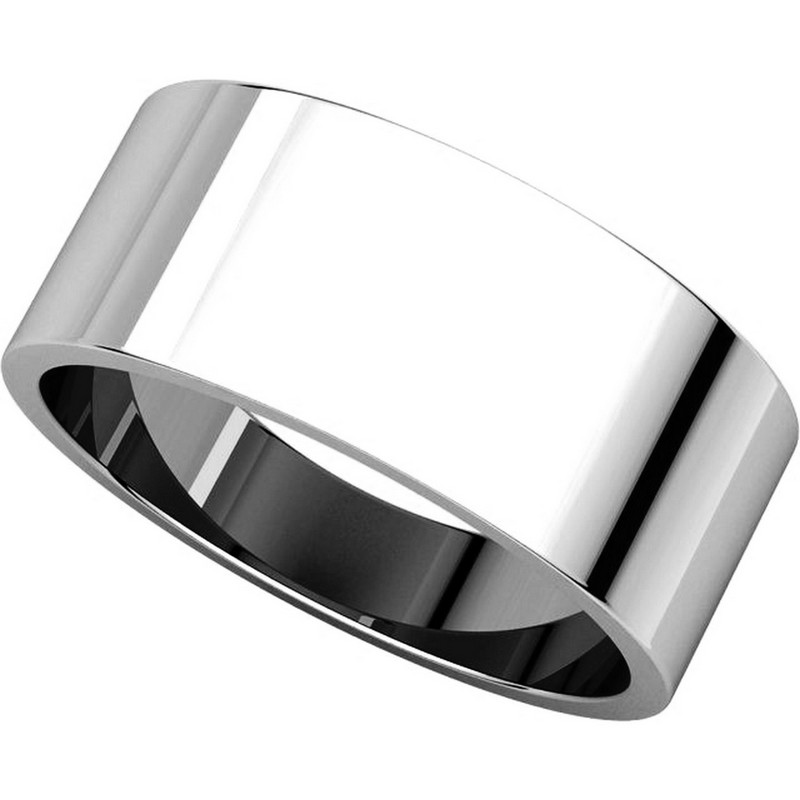 Item # N012508W View 4 - 14K White Gold 8mm Wide Flat Plain Wedding Band