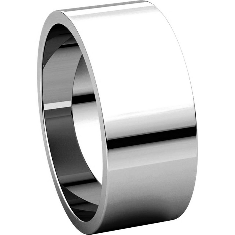 Item # N012508W View 5 - 14K White Gold 8mm Wide Flat Plain Wedding Band