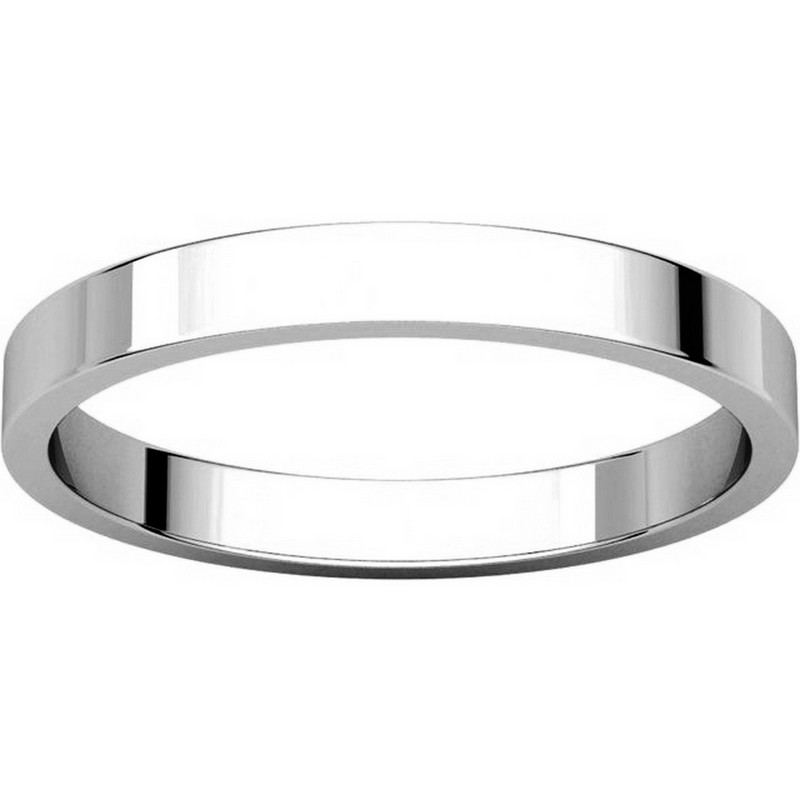 Item # N012525PP View 3 - Platinum 2.5mm Wide Flat Wedding Ring